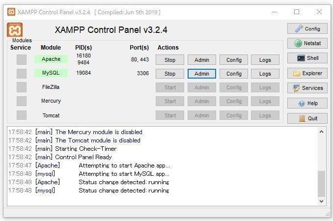 XAMPPデータベース作成1